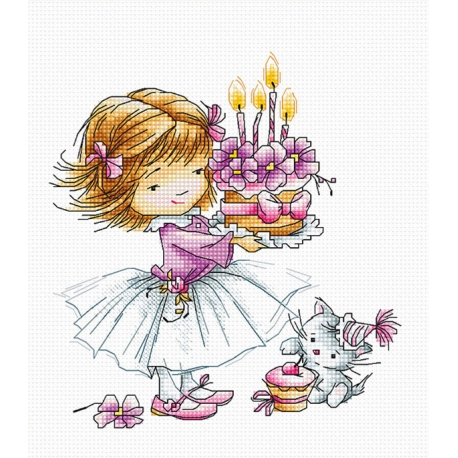 Момиченце с торта и котенце